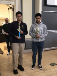 Also featured is Albert Zhu with Jaden Thomas-Mavtarian who tied for top individual scoring stude...