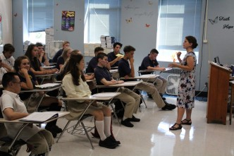 Mrs. Katz addresses her seniors on their first day of classes.