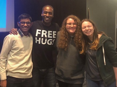 "Left to right Sanjay Natesan, the ""Free Hugs"" guy Ken Nwadike, Katie Thorn and Rachel Gifford."