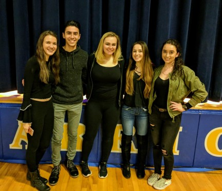 The Mr. Warrior Committee poses after Friday's event.  From left to right:  Mackenzie Farrell, Roberto Leito, Tracy Nelson, Ariana Peterman and Alexis Ninonuevo.