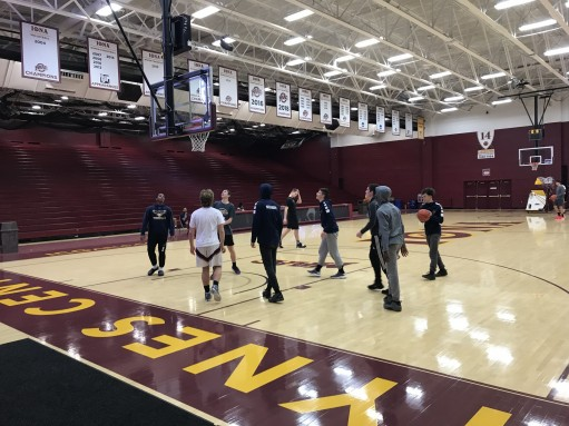 The team at their shootaround at Iona College.