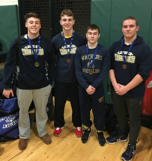 From left to right:  Lucca Ardovini, Joe Krauz, Chris DiMeglio and Kevin Johansson pose with their medals after the sectional meet.