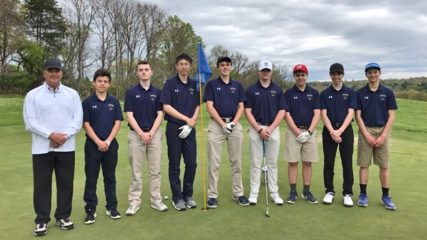 Lourdes Boys Golf Team 2019; From left to right:  Coach Panzanaro, Donald Perpetua, Connor Martin...