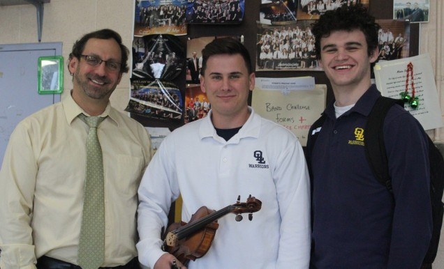 Band instructor, Paul Bellino, with Tyler and Daniel