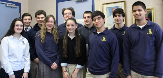 OLL Student Government Representatives:  From left to right:  Olivia McEntee, Patrick Jodry, Bran...