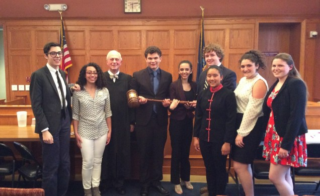 Lourdes Mock Trial team members Carrick Sculley, Lydia Vigne,  Brandon Hoolihan, Emily Sadutto, M...