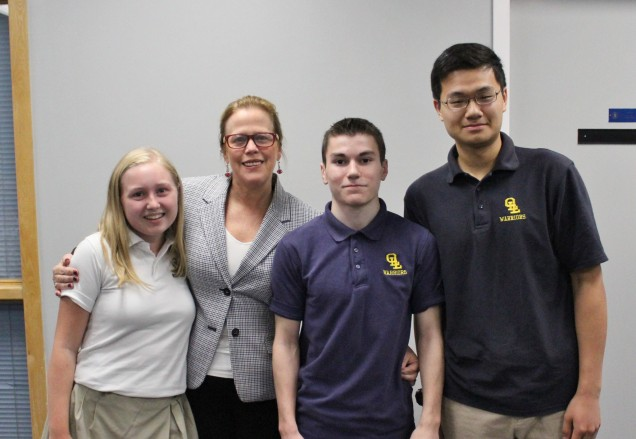 From right to left:  Tara Petronio, Mrs. Merryman, Christopher DiMeglio and Albert Zhu.