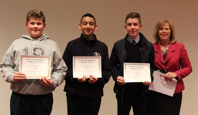 Awards in History. From left to right: Third place Brandon Pettno from St. Dennis St. Columba. Se...