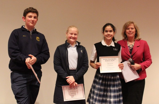 Awards in Mathematics. From left to right: Third place Brett Buono from Holy Trinity. Second plac...