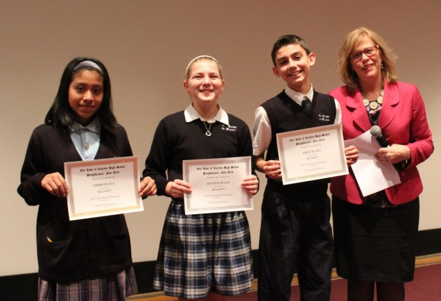 Awards in Religion. From left to right: Third place Edith Florencio from Nora Cronin Presentation...