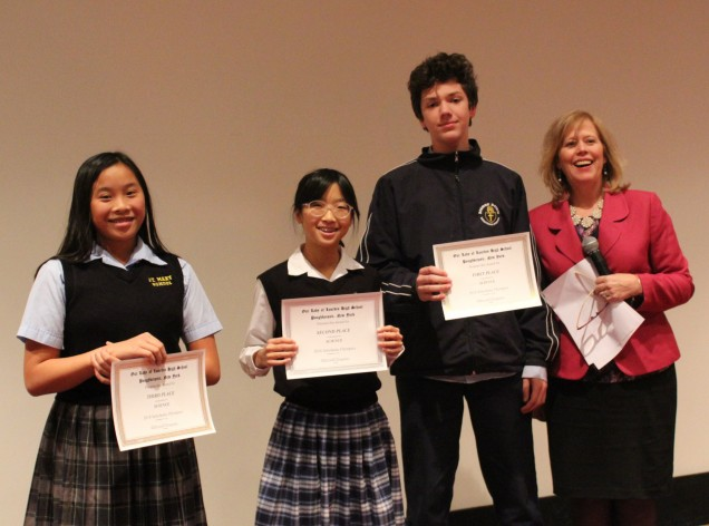 Awards in Science. From left to right: Third place Donna Vu from St. Mary Fishkill. Second place ...