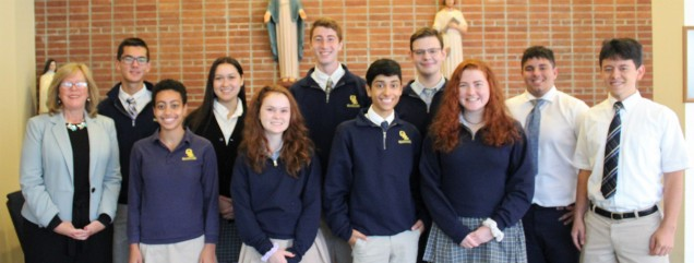 National Merit Commended Students.Row 1:  Mrs. Merryman, Lydia Vigne, Ellie Keating, Anthony Basi...